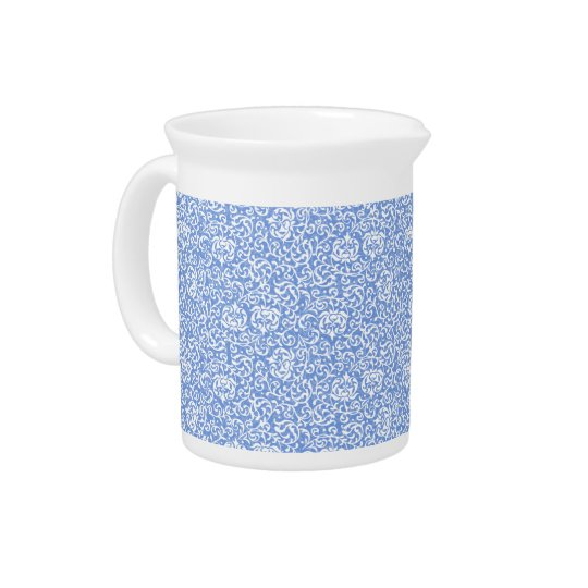 Blue and White Floral Tudor Damask Vintage Style Pitcher