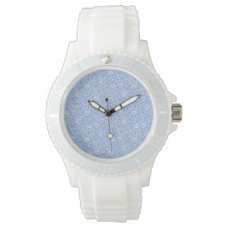 Blue and White Floral Tudor Damask Vintage Style Watches