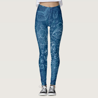 Blue and White Flower with Butterfly Leggings
