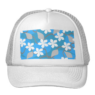Blue and White Flowers Floral Pattern Mesh Hat