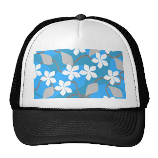 Blue and White Flowers Floral Pattern Hats