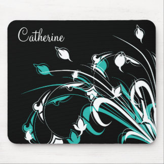 Blue and White Flowers on Black Mouse Pad
