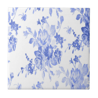Blue and White Flowers Pattern Ceramic Tile