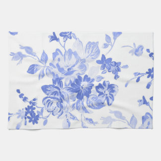 Blue and White Flowers Pattern Towel