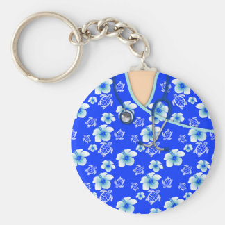 Blue And White Flowers Turtles Medical Scrubs Basic Round Button Keychain