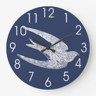 Blue and White Flying Swallow Large Clock