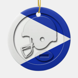 Blue and White Football and Helmet Ceramic Ornament