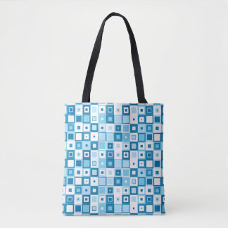 Blue and White Geometric Squares on Tote Bag