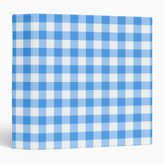 Blue And White Gingham Check Pattern 3 Ring Binders