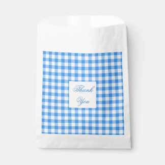 Blue And White Gingham Check Thank You Favour Bag