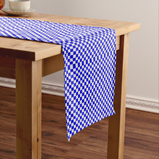 Blue And White Gingham Checkered Long Table Runner