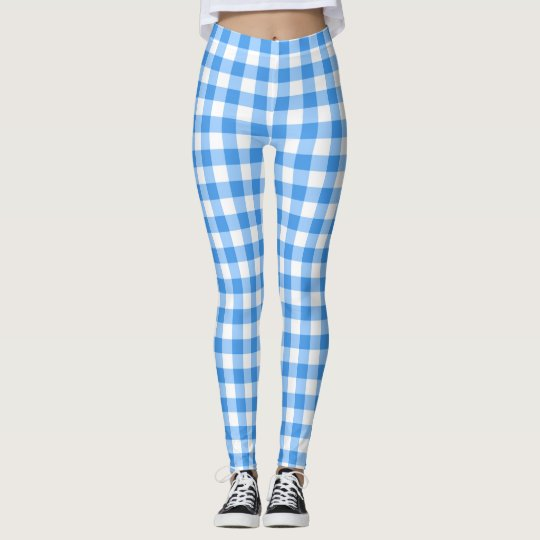 Blue And White Gingham Checks Leggings