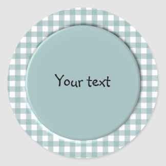 Blue and white gingham design round sticker