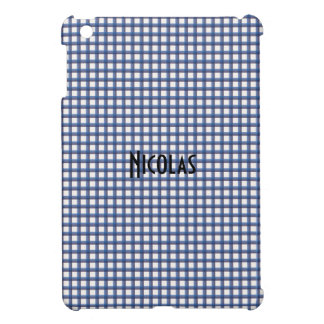 Blue and White Gingham Pattern Personalized Name iPad Mini Cover