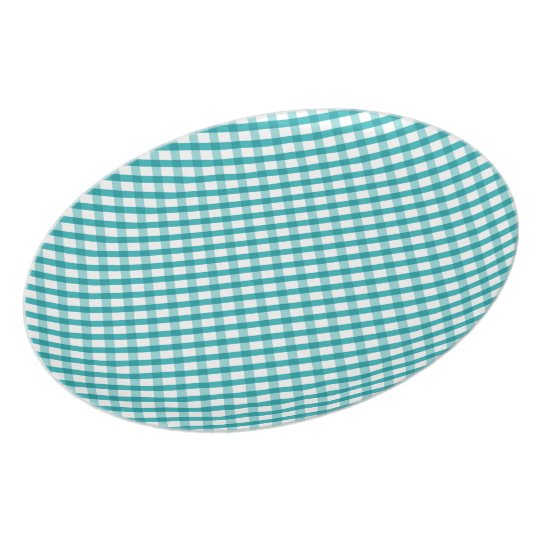 Blue and White Gingham Retro Plate