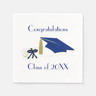 Blue and White Graduation Party Paper Napkins