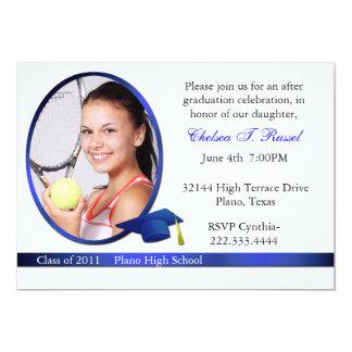 Blue and White Graduation Photo party invitation