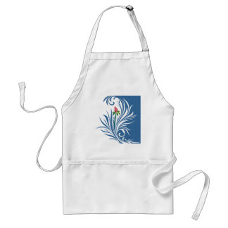 Blue and White Graphic Rose Standard Apron