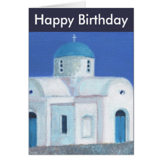 Blue And White Greek Cypriot Church Happy Birthday Card
