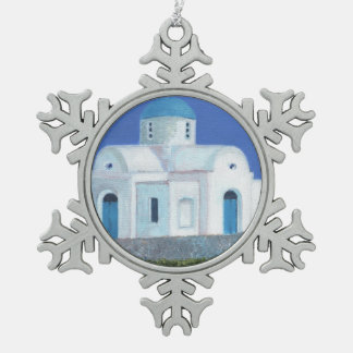 Blue And White Greek Cypriot Church Pewter Snowflake Ornament