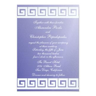 Blue and White Greek Key Card