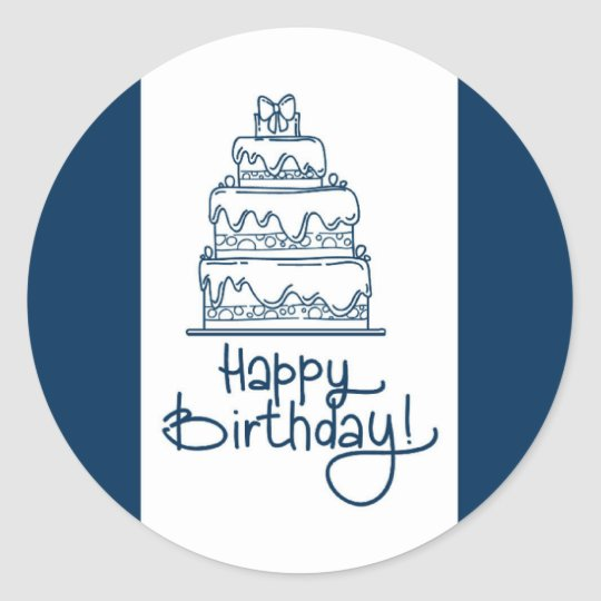 Blue And White Happy Birthday Design Classic Round Sticker