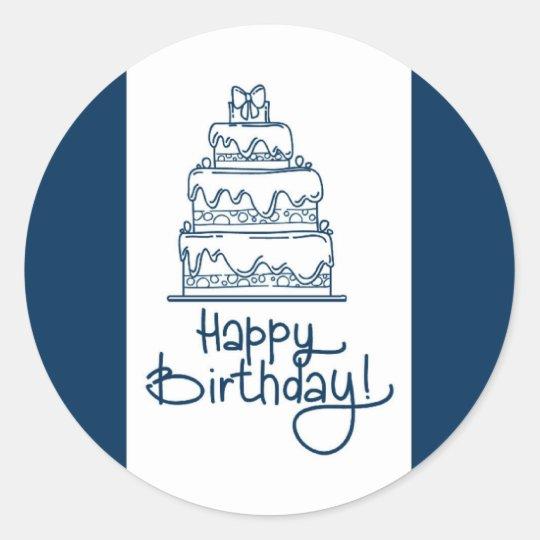 Blue And White Happy Birthday Design Round Sticker
