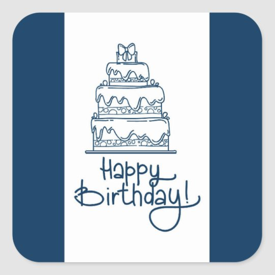 Blue And White Happy Birthday Design Square Sticker