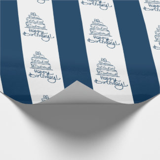 Blue And White Happy Birthday Design Wrapping Paper