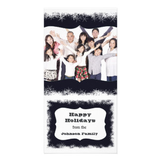 Blue and White Happy Holidays Family Photo Frame Personalized Photo Card