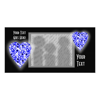 Blue and White Heart. Patterned Heart Design. Photo Card