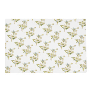 Blue and white hellebores laminated place mat