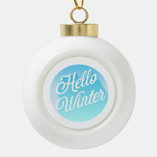 Blue And White Hello Winter Ceramic Ball Christmas Ornament