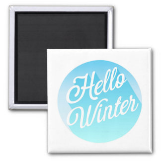 Blue And White Hello Winter Magnet