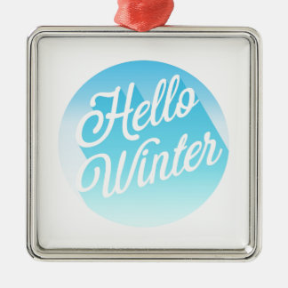 Blue And White Hello Winter Metal Ornament