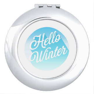 Blue And White Hello Winter Polka Dot Makeup Mirrors