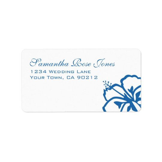 Blue and White Hibiscus Flowers Custom Address
