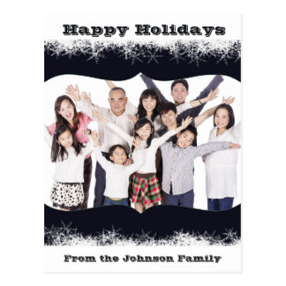 Blue and White Holiday Family Photo Postcard