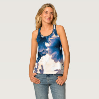 Blue and White Hollyhock Tank T by JP Choate