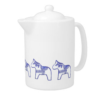 Blue and White Horse Teapot