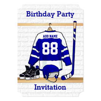 "Blue and White Ice Hockey Jersey Birthday Party 5"" X 7"" Invitation Card"