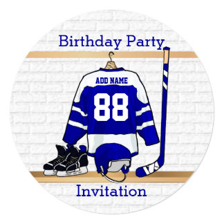"""Blue and White Ice Hockey Jersey Birthday Party 5.25"""" Square Invitation Card"""