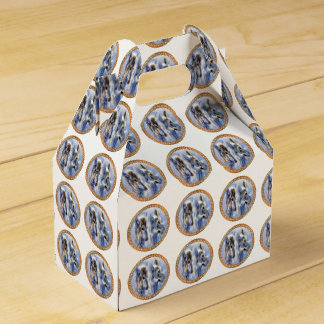 Blue and white ice wolves looking for dinner favor box