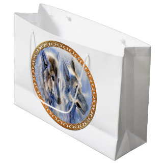 Blue and white ice wolves looking for dinner large gift bag