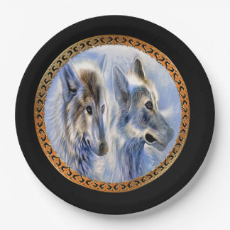 Blue and white ice wolves looking for dinner paper plate