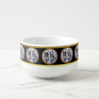 Blue and white ice wolves looking for dinner soup mug