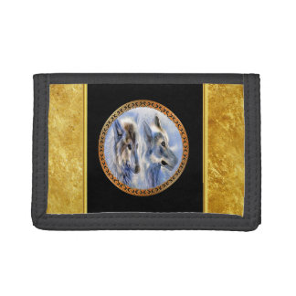 Blue and white ice wolves looking for dinner trifold wallets