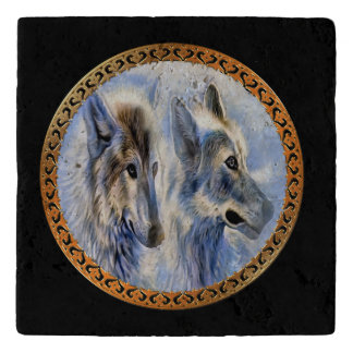 Blue and white ice wolves looking for dinner trivet