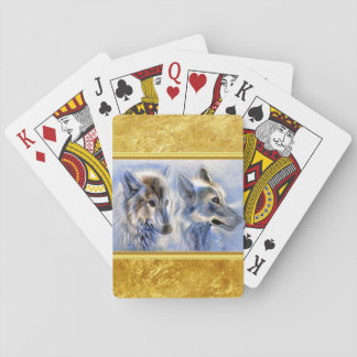 Blue and white ice wolves with gold foil texture playing cards
