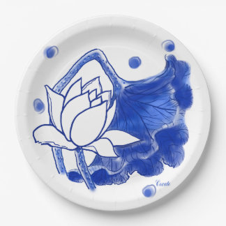 blue and white Japanese traditional plate 9 Inch Paper Plate